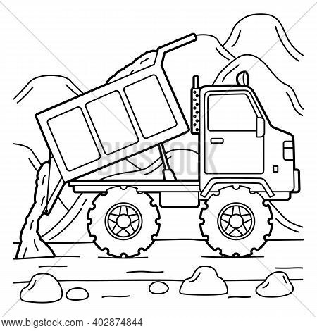 Cute And Funny Coloring Page Of A Dump Truck. Provides Hours Of Coloring Fun For Children. To Color