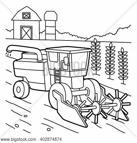 Cute And Funny Coloring Page Of A Combine Harvester. Provides Hours Of Coloring Fun For Children. To