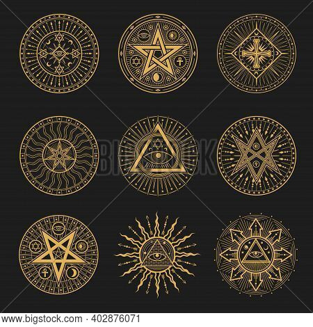 Occult Signs, Occultism, Alchemy And Astrology Symbols. Vector Sacred Religion Mystic Emblems Magic