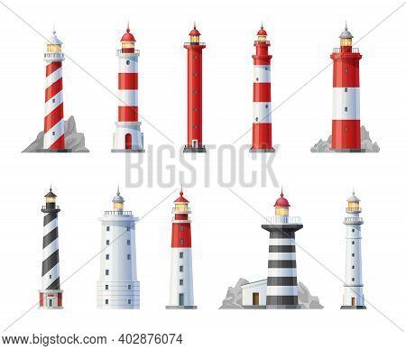Lighthouse Vector Icons, Beacon Buildings, Nautical Seafarers, Marine Safety Sailing Light. Searchli