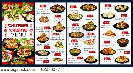 Chinese Cuisine Vector Menu Meals Mussels With Black Beans And Red Pepper, Steamed Shrimps With Jasm