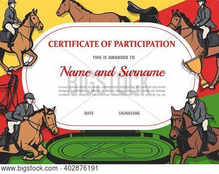 Certificate Of Participation In Horse Race, Diploma Vector Template. Stallion Racing Award Border De