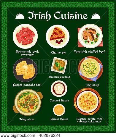 Irish Cuisine Vector Menu Homemade Pork Sausages, Cherry Pie, Vegetable Stuffed Beef And Potato Panc