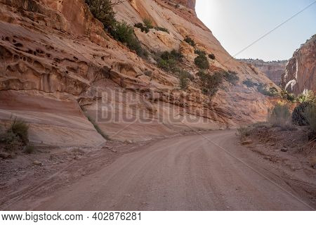 Wide Dirt Trail Of Capitol Gorge Heads Into Wilderness Of Capitol Reef