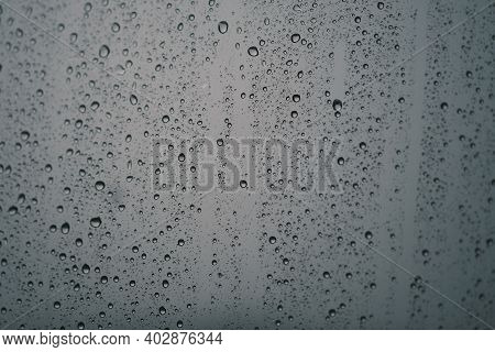 Waterdrop On Glass. Water Droplets On Glass Background. Royalty High-quality Stock Photo Image Of Wa