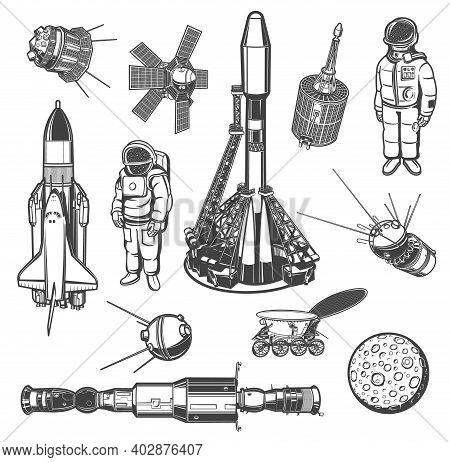 Galaxy Explore Monochrome Vector Icons. Universe Expedition. Astronaut, Space Shuttle And Satellites