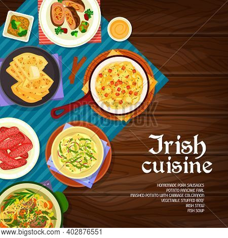Irish Cuisine Vector Mashed Potato With Cabbage Colcannon, Homemade Pork Sausages And Vegetable Stuf