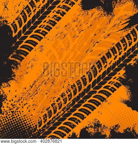 Offroad Grunge Tyre Prints, Vector Grungy Orange Abstract Pattern On Black Background. Auto Rally Or