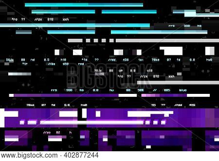Abstract Background With Glitch Effect, Vector Distortion, Glitched Colored Horizontal Stripes, Numb