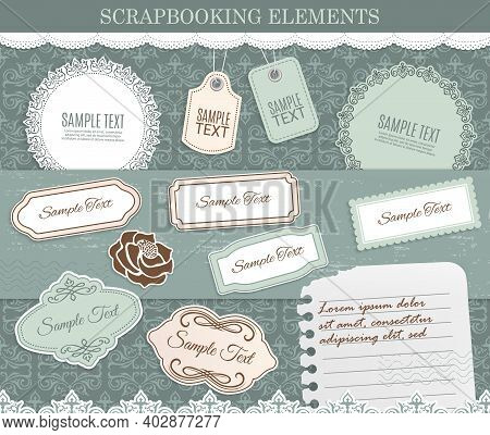 Scrapbooking Elements, Vector Paper Stickers On Background With Retro Flourishes. Design Elements Fo