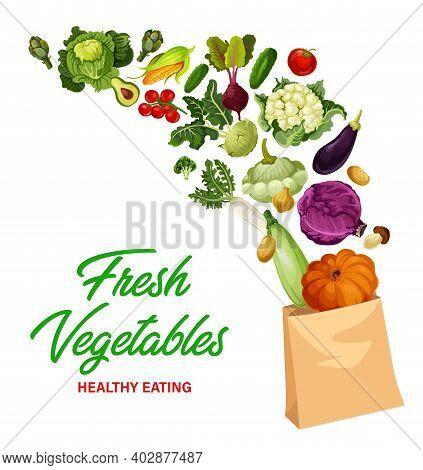 Fresh Vegetables Market, Healthy Eating Banner. Ripe Tomato, Cauliflower And Kohlrabi Cabbage, Kohlr