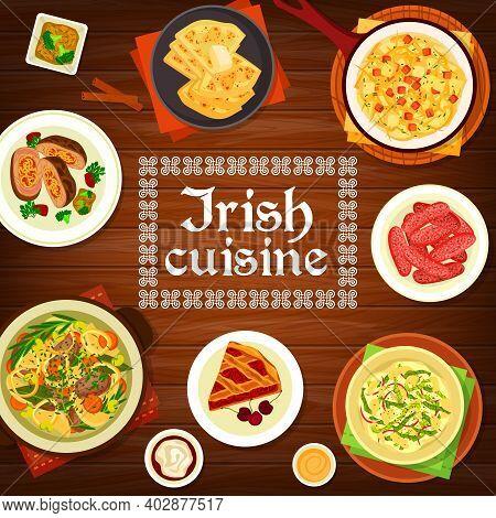 Irish Cuisine Vector Potato Pancake Farl, Homemade Pork Sausages And Cherry Pie. Vegetable Stuffed B