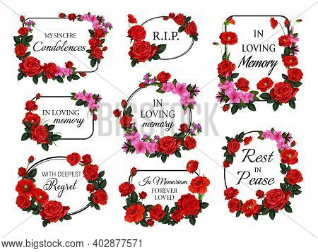 Funerary Round And Square Frames, Borders With Flowers. Funeral Vector Card Decorations Set With Ros