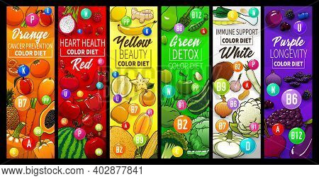 Color Diet With Fruits, Vegetables And Nuts Banners. Healthy Nutrition, Cancer Prevention, Beauty An