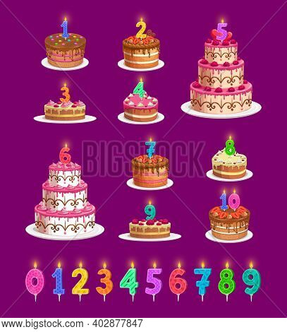 Candles On Birthday Cakes With Age Numbers From One To Ten Isolated Vector Icons. Happy Birthday Chi