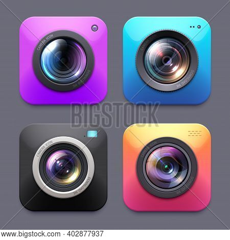 Photo And Video Cameras With Lens Flare Vector Icons, Isolated Digital Button Signs. Photographer Eq