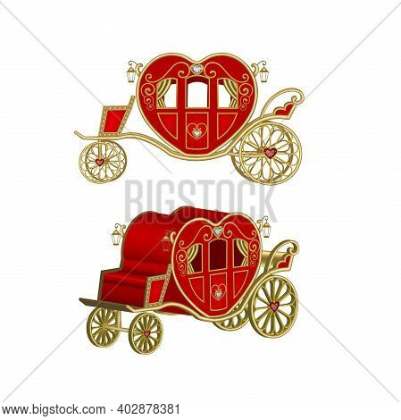 Heart Shaped Carriage Valentine's Day Carriage Vector