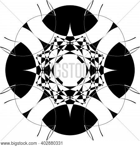 Arabesque Intersected Trajectory Negative Space Sphere Illusion Abstract Background Black On Transpa