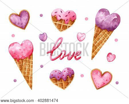 Valentine's Day Watercolor Set With Heart Shaped Desserts. Pink And Purple Ice Cream In Waffle Cones