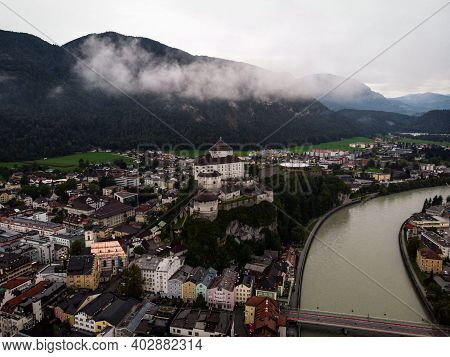 Aerial Panorama Of Medieval Castle Fortification Festung Kufstein Fortress In Town Tyrol Austria Alp