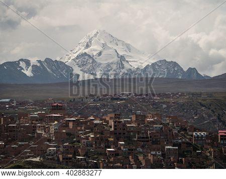 Panorama Cityscape Landscape Of La Paz Urban City Metropolis With White Huayna Potosi Mountain Boliv