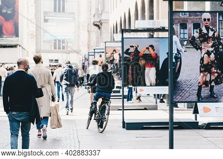 Milan, Italy - September 27, 2020. People In Masks Walking Street In Downtown Of Milan, Commuting, C