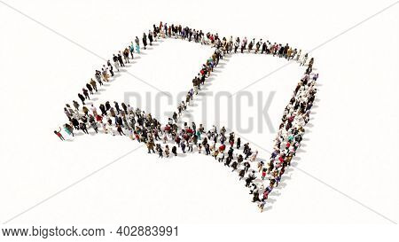 Concept or conceptual large community  of people forming the image of an open book on white background.  A 3d illustration metaphor for learning, education, research,  science, literature and culture