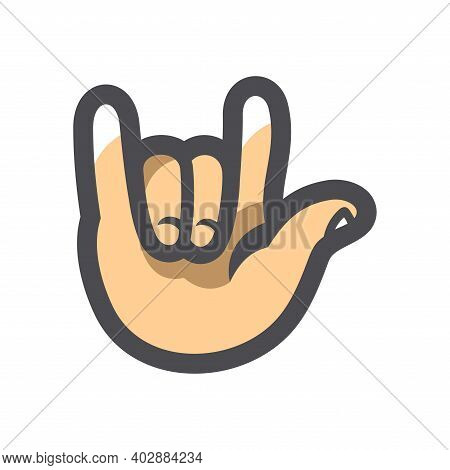 Hand Cool Fingers Vector Icon Cartoon Illustration.