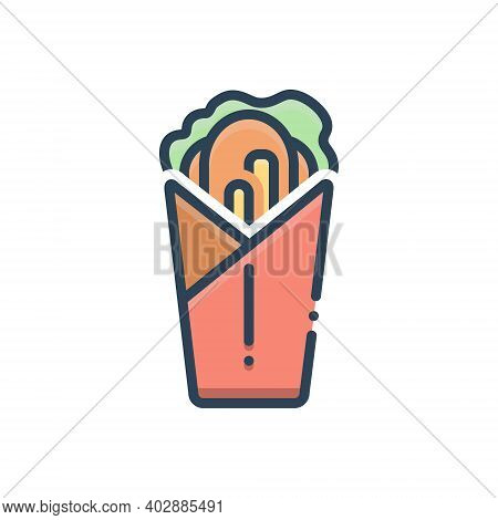 Color Illustration Icon For Shawarma  Burger Roll Fastfood Flatbread Shawurma Shawerma