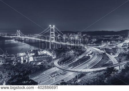 Tsing Ma Bridge In Hong Kong City At Night