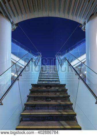 Stairs From Underground Upward In Modern City Space