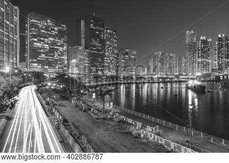 Night Scene Of Skyline And Harbor Of Hong Kong City