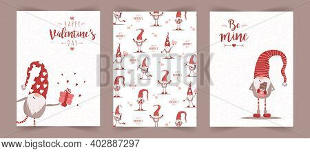 Valentines Day Scandinavian Cards. Cute Little Gnomes In Red Hats. Be Mine. Vector Illustration In C