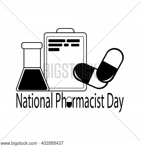 National Pharmacist Day, Silhouettes Of Pills, Tablet With Text And Flasks With Liquid, Pharmacist P