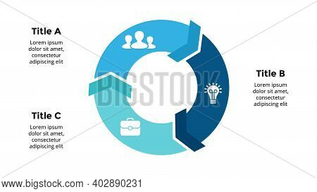 Arrows Vector Infographic. Presentation Slide Template. Circle Diagram. Chart With 3 Options.