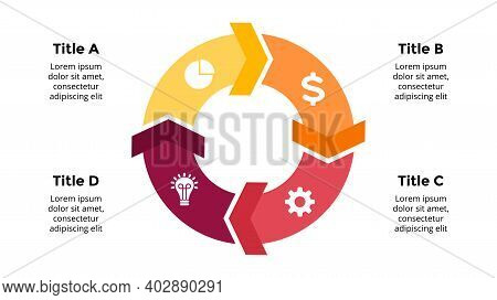Arrows Vector Infographic. Presentation Slide Template. Circle Diagram. Chart With 4 Options.