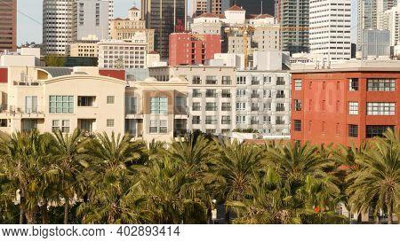 Metropolis Urban Skyline, Highrise Skyscrapers In City Downtown, San Diego County, California Usa. F