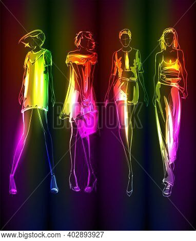 Hand-drawn Fashion Model From A Neon. A Light Girls. Fashion Girls. Stylish Fashion Model. Fashion W