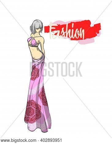 Beautiful Young Woman In Modern Style. Hand Drawn Stylish Woman Portrait. Fashion Lady. Festive Outf