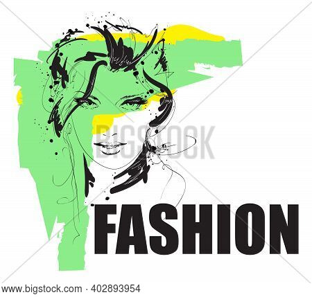 Hand Drawn Beautiful Young Woman Face. Fashion.  Beautiful Woman Face. Power Of Smiling Beautiful Yo