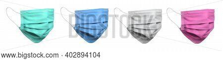 Four Color Surgical Face Mask On Blue Background. Minimal Medical Concept.