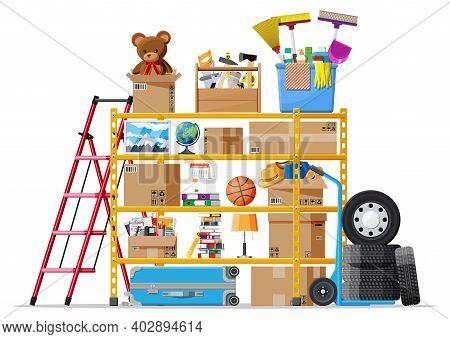 Storeroom Or House Cellar Interior. Modern Storage Room. Metal Shelves With Household Items. Rack Fu