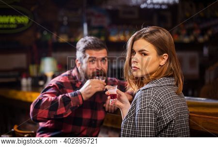 Young Woman Has Problems With Alcohol. Female Male Alcoholism. Woman And Man Alcoholism. Young Man D