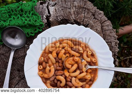 Italian Style Pasta Fagioli Dish With Macaroni And Kidney Beans/ Pasta With Beans, Or Pasta E Fagiol