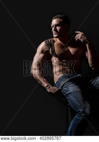 Muscular Torso And Chest. Muscular Torso Close Up. Torso Six Packs Attractive. Leather Belt, Jeans.