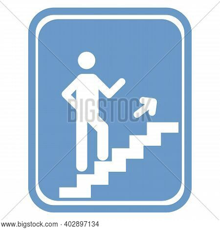 Man Climbing Stairs Icon Isolated On White Background From People Collection. Man Climbing Stairs Ic