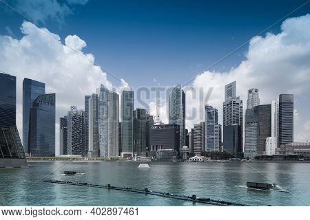 Singapore-march 27 : Panorama Of Singapore On March 27, 2014 In Singapore. Central Business District