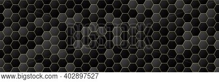Black And Gold Gradient Color Hexagon Seamless Pattern Background, Geometric Texture, Minimal Design