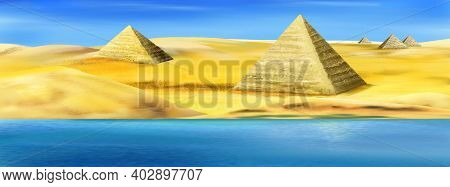 Pyramids On The Banks Of The Nile River In Egypt