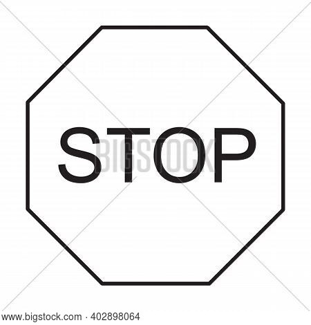Stop Sign Icon. Flat Style. Red Stop Sign For Your Web Site Design, Logo, App, Ui. Stop Traffic Symb